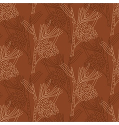 Seamless pattern with pine branches on a brown vector