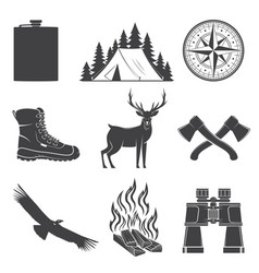 set hiking and camping icons isolated on the vector image