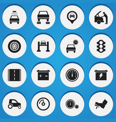 set of 16 editable vehicle icons includes symbols vector image