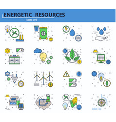 set renewable energy sources and power vector image