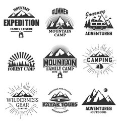 Set vintage outdoor label emblem badge vector