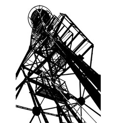 Silhouette an old sentinel tower on a white vector