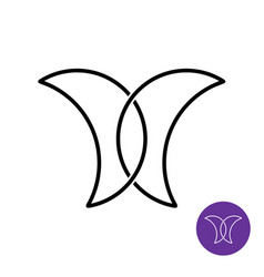 simple linear butterfly logo with two crescents vector image