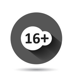sixteen plus icon in flat style 16 on black round vector image