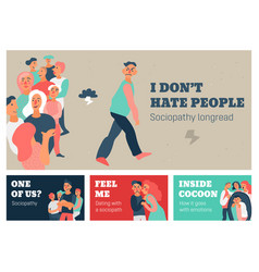 Sociopathy horizontal banners vector