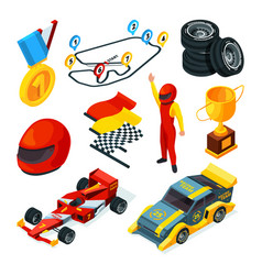 Sport racing symbols isometric pictures of racing vector