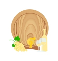 Still life with barrel bottle and glass of wine vector