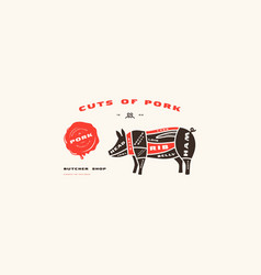stock pork cuts diagram in flat style vector image