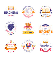 Teachers day isolated icon literacy and education vector