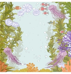 Underwater world with marine seaweed vector
