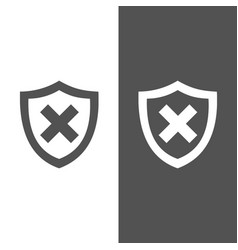 Unprotected shield icon on black and white vector