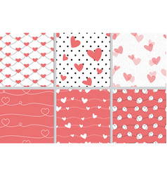 valentine heart seamless pattern on red coral vector image