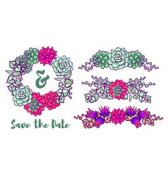 Vintage wedding wreath of succulents for greeting vector