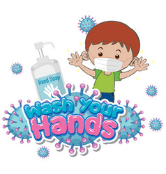 Wash your hands poster design with boy wearing vector