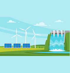 Wind mill and solar panels vector
