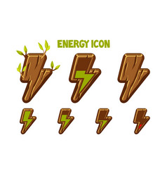 wooden icons lightning energy discharge steps vector image