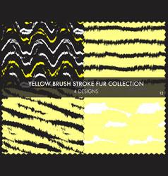 Yellow brush stroke fur seamless pattern vector