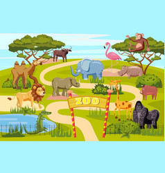 Zoo entrance gates cartoon poster with elephant vector