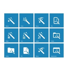 Magician icons isolated on blue background vector image