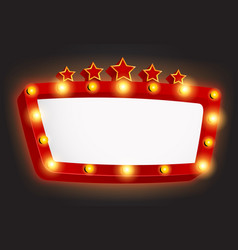 retro light frame banner with star vector image