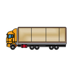 truck side view cargo delivery car for vector image