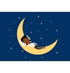 Weary businesswoman sleeping on the moon vector
