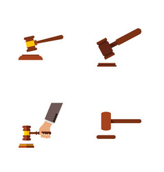 flat icon lawyer set of hammer defense justice vector image vector image