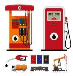 Gas pumps and flat oil industry icons vector image vector image