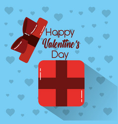 happy valentines day gift box open surprise vector image