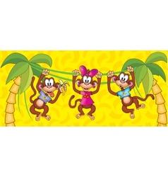 Three monkeys hanging on vines symbol 2016 vector