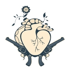 Vintage style emblem with human heart and two vector