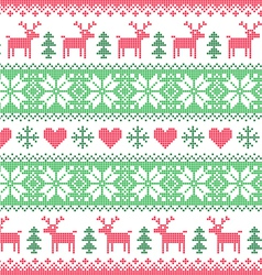 Winter Christmas red and green seamless pixelated vector image vector image
