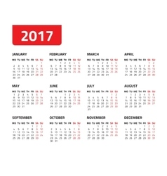 Calendar for 2017 year vector image vector image