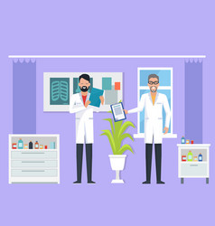 doctors at room on purple vector image vector image