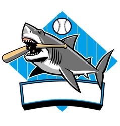 shark baseball mascot vector image vector image