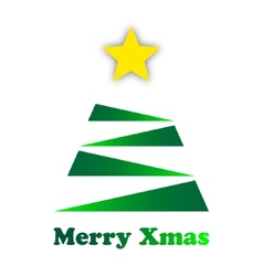 Stylized green Christmas tree with a gold star vector image