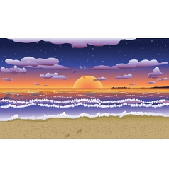 Sunset on tropical beach2 vector image vector image