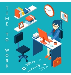 Time to work concept Business corporate process vector image vector image