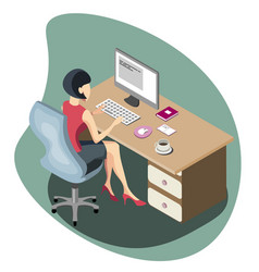 woman working at a computer isometric vector image vector image