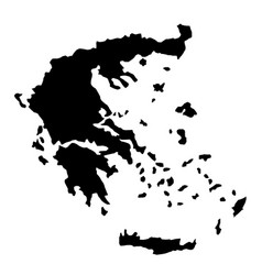 black silhouette country borders map of greece on vector image vector image