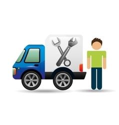 character man car repair service design vector image vector image