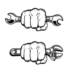 human fist with wrench design element for poster vector image
