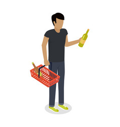 man with cart purchases in flat design shop cart vector image