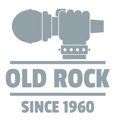 retro rock music logo simple gray style vector image