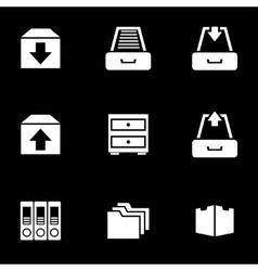 white archive icon set vector image