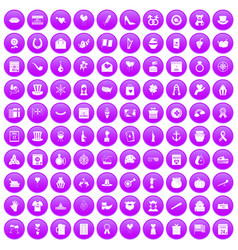 100 calendar icons set purple vector