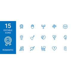 15 romantic icons vector image
