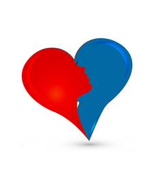 abstract couple heart love logo vector image