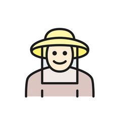 beekeeper in protective clothing flat color line vector image