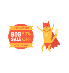 big sale special offer 50 percent off banner with vector image